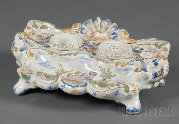 12: Tin Glazed Faience Ink Stand, France, 19th century,