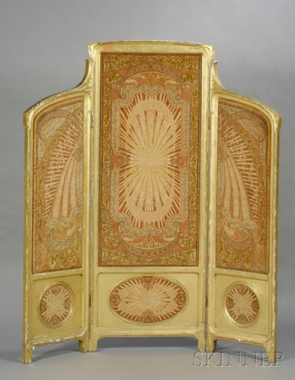 13: Art Nouveau Giltwood and Fabric-inset Three-Panel F