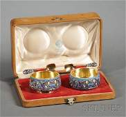 671 Cased Set of Russian Silver and Enamel Salt Cellar