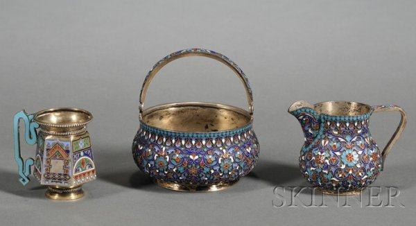 672: Three Russian Silver and Enamel Tablewares, a St.