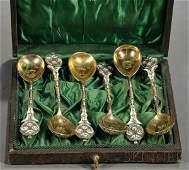 681: Boxed Set of Six Russian Silver Enamel Teaspoons,
