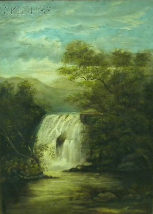 15: American School, 19th Century Waterfall Unsigned, o