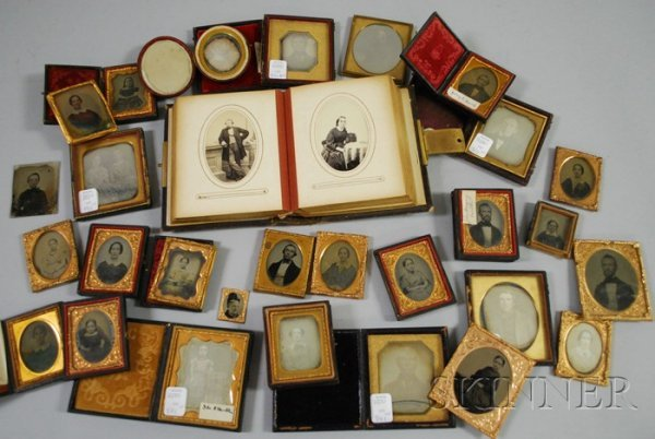 501: Group of Early Portrait Photographs, cased and loo