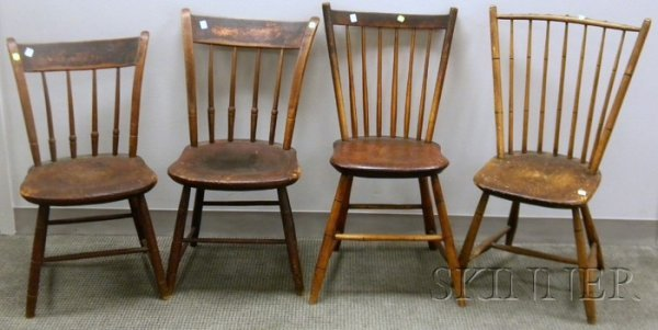 505: Pair of Painted Thumb-back Arrow-back Side Chairs