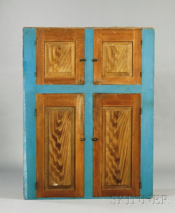 507: Blue-painted and Faux-grained Wooden Cupboard, New