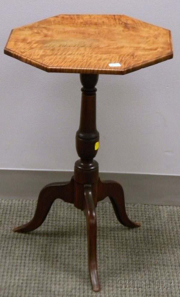 514: Octagonal Tiger Maple and Maple Candlestand.