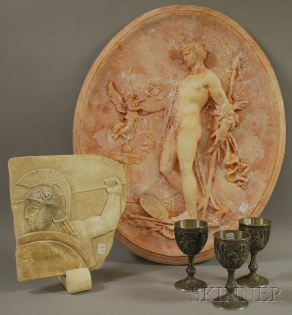 517: Two Reproduction Plaster Plaques of a Classical Fi