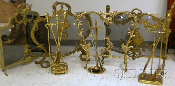 518: Two Neoclassical Brass and Wire Fireplace Screens,