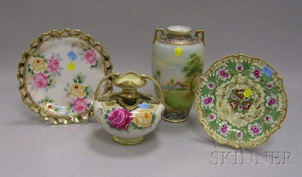 519: Four Nippon Hand-painted Porcelain Items, a gilt a