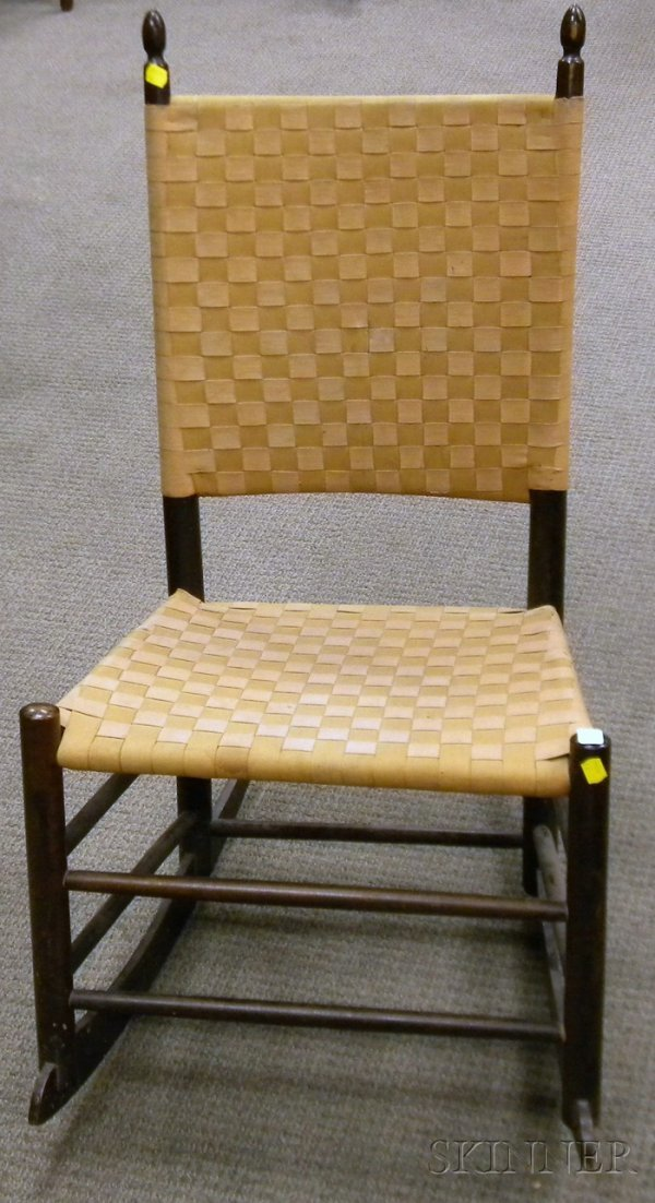 520: Shaker Production Maple Rocker with Woven Tape Bac