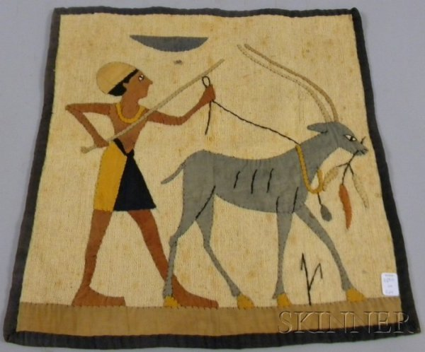 524: Egyptian Revival Appliqued Wall Hanging, earth-ton