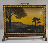 715 Art Nouveau Giltgesso and Wood Framed Fireplace S