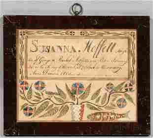 Watercolor on Paper Birth Record for Susanna Moffett