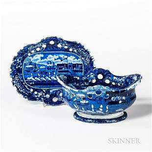 Staffordshire Historical Blue Transfer-decorated