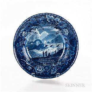 """Staffordshire Historical Blue Transfer-decorated """"View"""