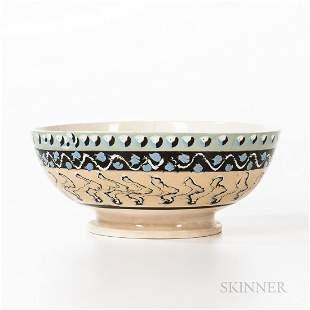 Large Slip-decorated Creamware Punch Bowl