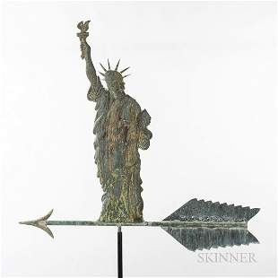 Molded Gilt Copper Statue of Liberty Weathervane