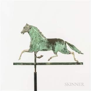 Small Gilt Copper Running Horse Weathervane