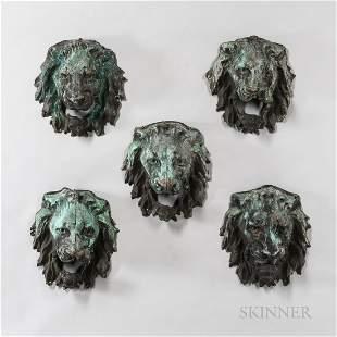 "Set of Five Molded Copper ""Hoboken Piers"" Lion Heads"