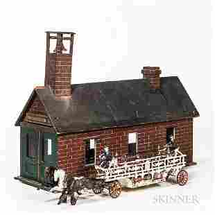 Large Cast Iron Horse-drawn Hook and Ladder Toy and a