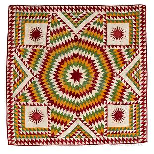 Pieced and Appliqued Star Pattern Quilt