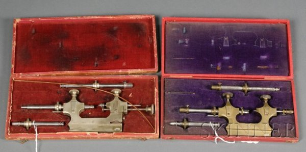 20: Two Boxed Sets of Cast Brass and Steel Jacot Tools,