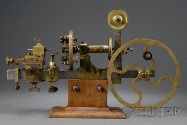 22: Brass and Steel Watchmaker's Mandrel, Switzerland,