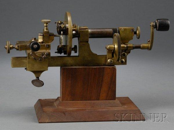23: Brass and Steel Watchmaker's Mandrel, Switzerland,