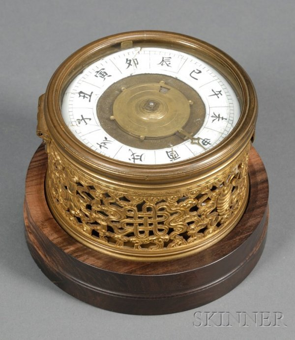 560: Chinese Drum Clock on Rosewood Stand, the 4 1/2 in