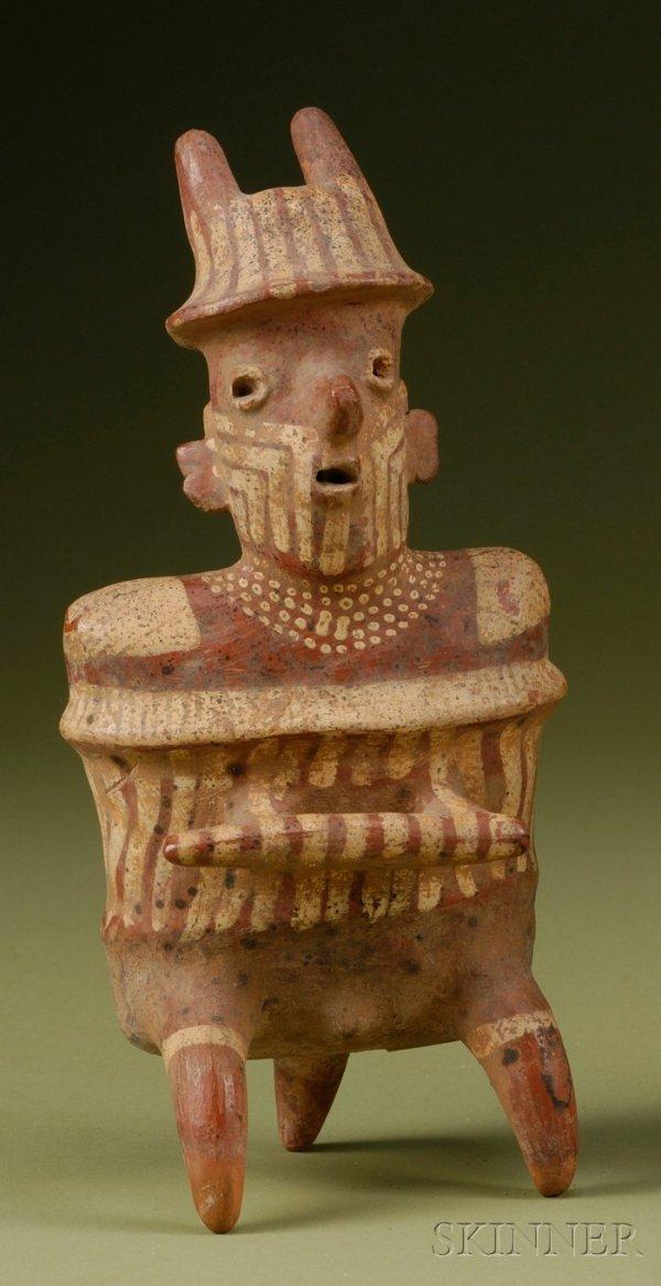 1: Pre-Columbian Painted Pottery Warrior Figure, Nayari