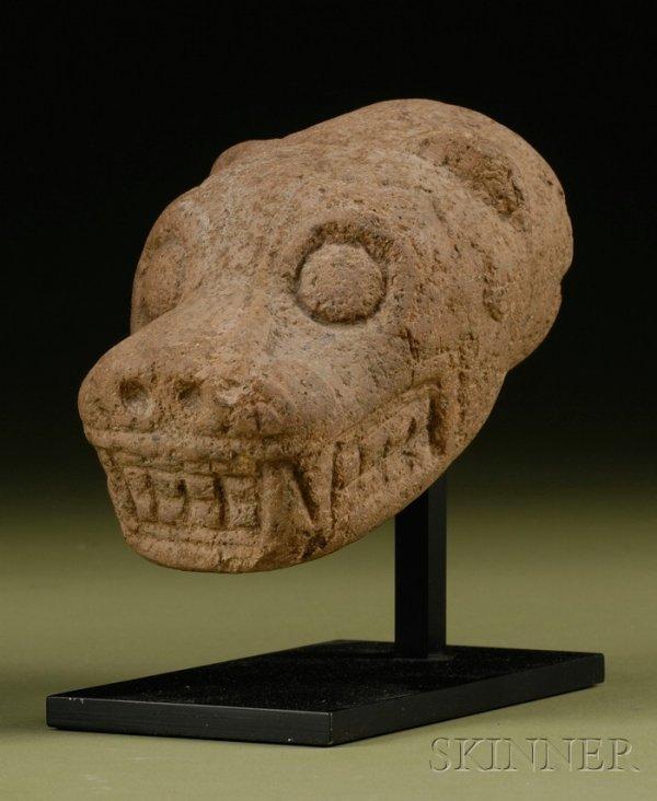 9: Pre-Columbian Carved Stone Jaguar Head, Costa Rica,