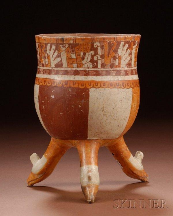 10: Pre-Columbian Polychrome Pottery Tripod Bowl, Mexic