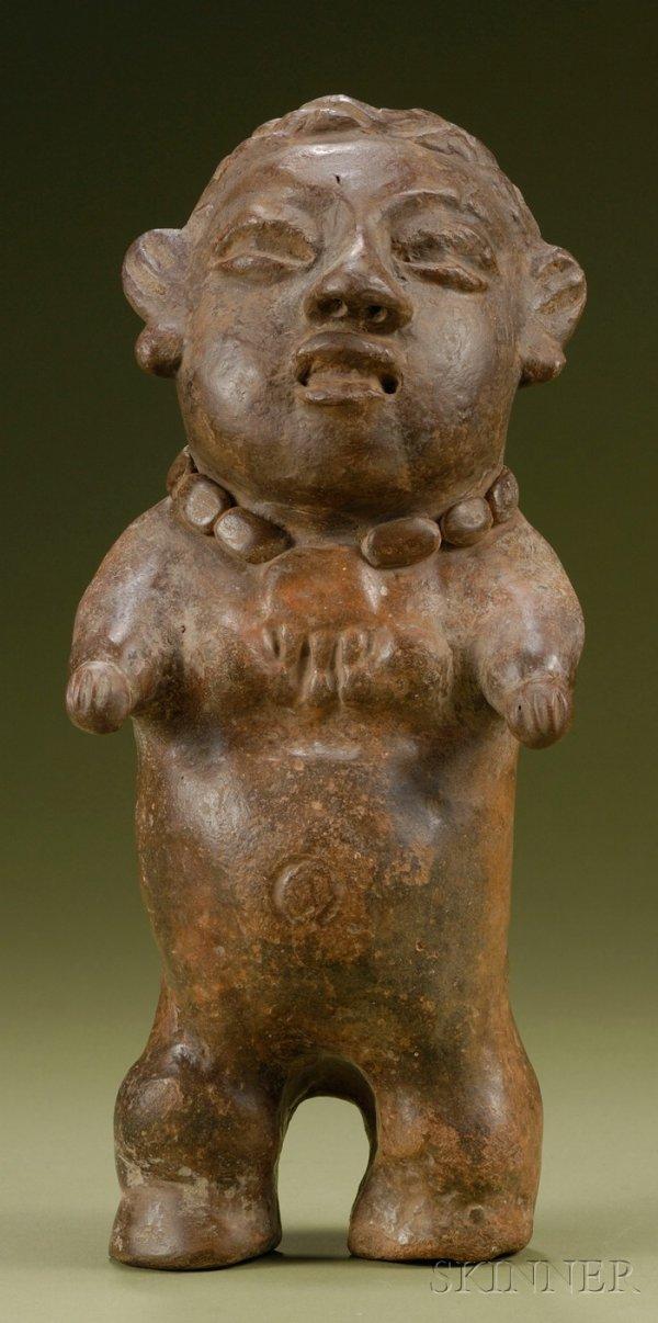 12: Pre-Columbian Pottery Female Figure, Maya, c. 200-4