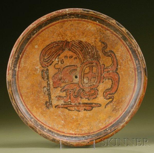 13: Pre-Columbian Polychrome Pottery Plate, Maya, c. 60