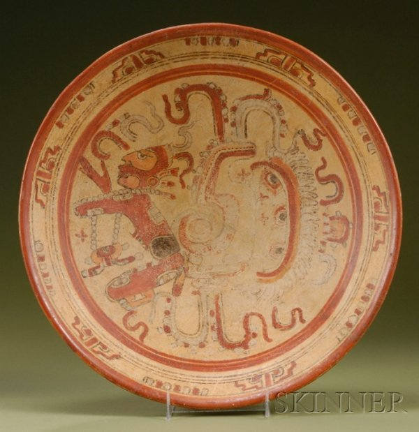 14: Pre-Columbian Polychrome Pottery Plate, Maya, c. 50