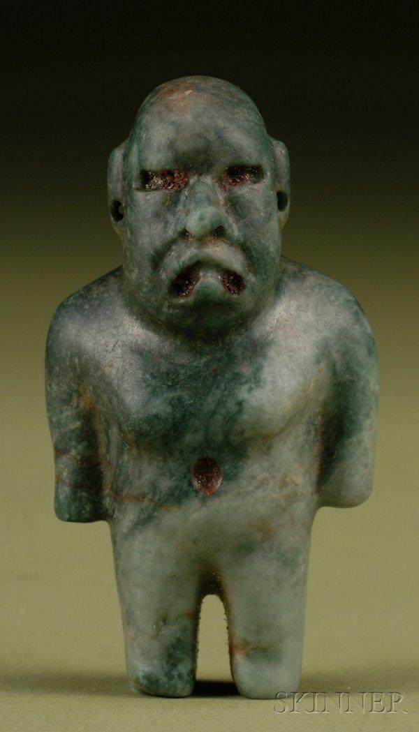 17: Pre-Columbian Carved Jade Figure, Mexico, Olmec, c.