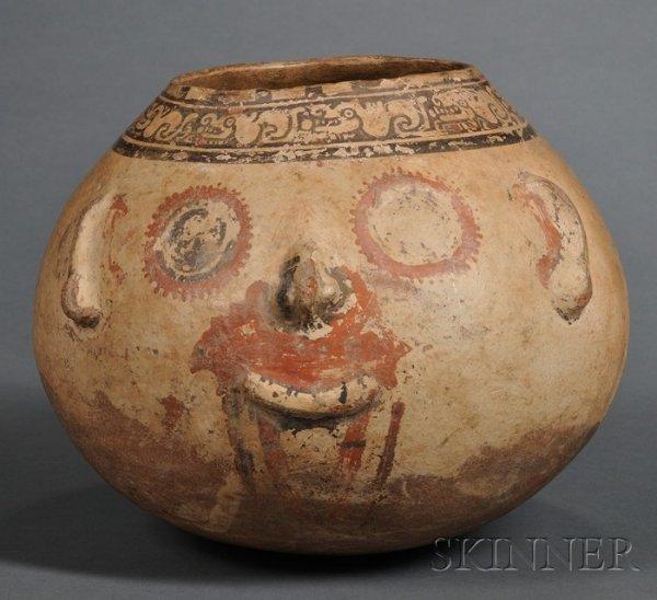 19: Pre-Columbian Polychrome Pottery Effigy Vessel, Cos