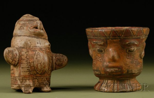 20: Two Polychrome Pottery Effigy Vessels, Costa Rica,