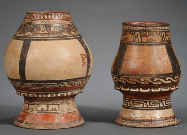 22: Two Pre-Columbian Polychrome Pottery Pedestal Urns,
