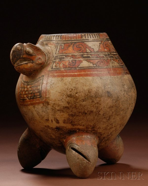 24: Pre-Columbian Painted Pottery Turtle Urn, Costa Ric