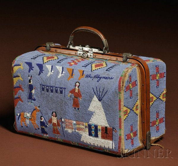 367: Rare and Historic Plains Pictorial Beaded Suitcase