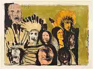 Leonard Baskin (American, 1922-2000) Indian Faces,