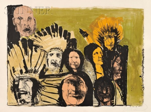 19: Leonard Baskin (American, 1922-2000) Indian Faces,