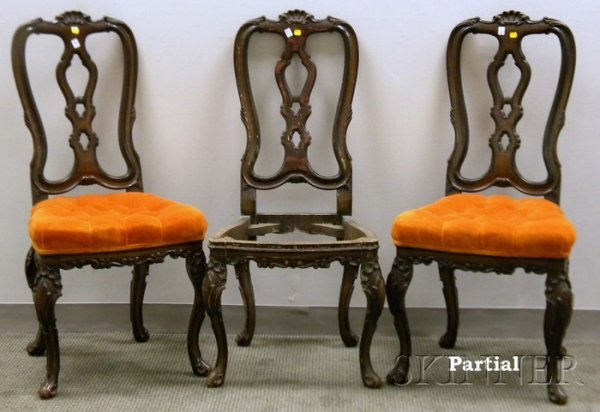 506: Set Six Portuguese Rococo-style Upholstered Painte