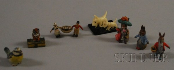 508: Seven Miniature Bronze and Ivory Items, including