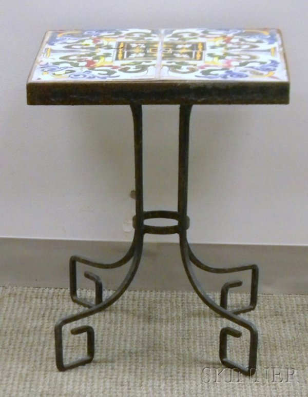 514: Faience Tile-top Wrought Iron Stand, (tile damage)