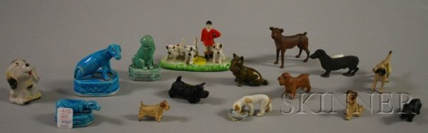 517: Fifteen Small Painted Bronze and Porcelain Figural