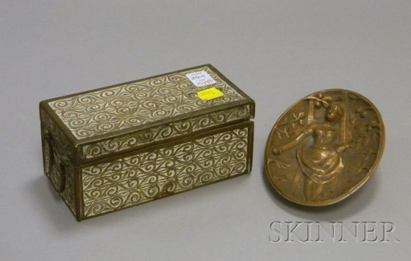 519: Two Metal Decorative Items, an erotic bronze card