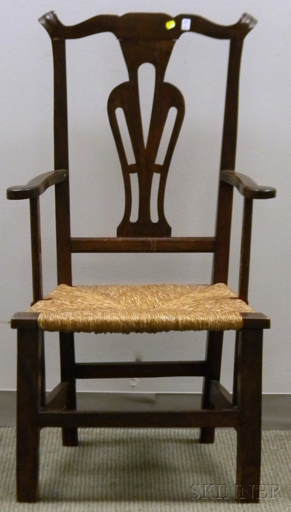 521: Country Chippendale-style Maple Armchair, with rus