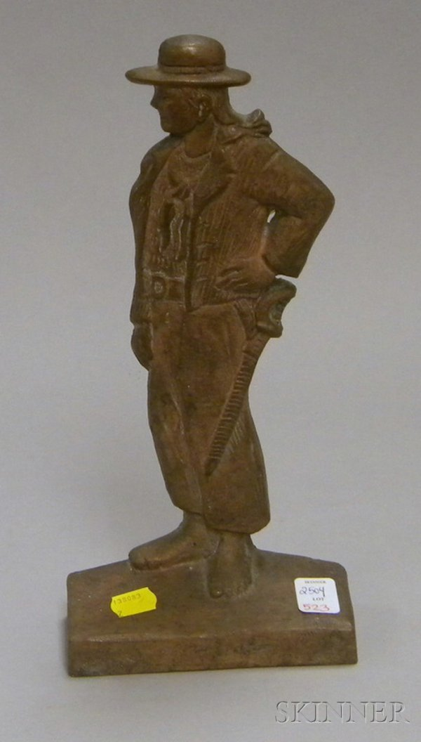 """523: Bronze Doorstop of a Pirate, marked """"R.W.B. 1935"""""""